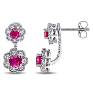 Laura Ashley 10k White Gold Created Ruby and 1/4ct TDW Diamond Double Flower Front-Back Earrings (G-H, I2-I3)