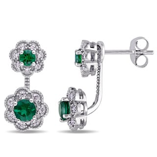 Laura Ashley 10k White Gold Created Emerald and 1/4ct TDW Diamond Double Flower Front-Back Earrings (G-H, I2-I3)