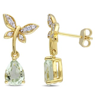 Laura Ashley Yellow Plated Sterling Silver Pear-Cut Green Amethyst and White Sapphire Butterfly Dangle Earrings
