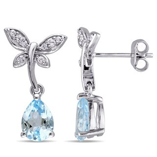 Laura Ashley Sterling Silver Pear-cut Sky Blue Topaz and White Sapphire Butterfly Dangle Earrings