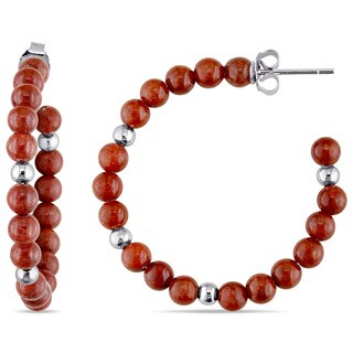 Miadora Red Synthetic Jade Beaded Hoop Earrings in Sterling Silver
