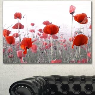 Designart 'Amazing Red Poppy Flower Garden' Flower Artwork on Canvas