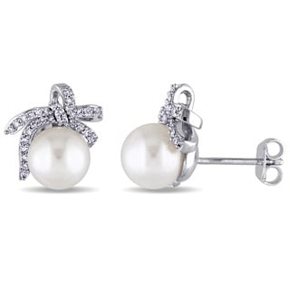 Laura Ashley Sterling Silver 8-8.5 mm Freshwater Pearl and 1/4ct TDW Diamond Knotted Bow Stud Earrings (G-H, I2-I3)