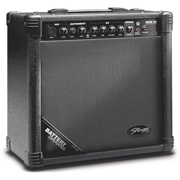 Stagg MOB20 USA Battery-operated Acoustic Guitar Amplifier with Spring Reverb