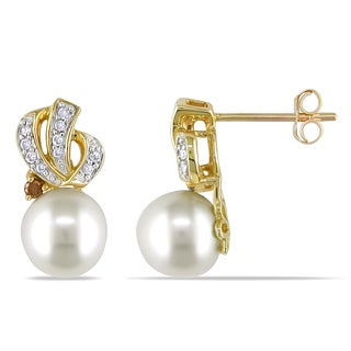 Miadora 10k Yellow Gold Cultured Freshwater Pearl and 1/6ct TDW Brown and White Diamond Knot Drop Earrings (G-H, I2-I3)(7.5-8mm)