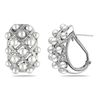 Miadora Sterling Silver Cultured Freshwater Pearl and 1/10ct TDW Diamond Criss-Cross Earrings (G-H, I2-I3) (10.5-11mm)