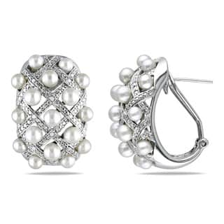 Miadora Sterling Silver Cultured Freshwater Pearl and 1/10ct TDW Diamond Criss-Cross Earrings (G-H, I2-I3) (10.5-11mm)|https://ak1.ostkcdn.com/images/products/13134121/P19863078.jpg?impolicy=medium