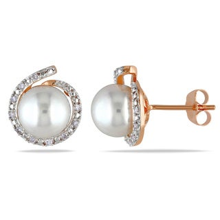 Miadora 10k Rose Gold Cultured Freshwater Pearl and 1/10ct Diamond Halo Loop Earrings (G-H, I2-I3) (8-8.5mm)