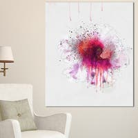 Designart 'Stylish Pink Watercolor Flower' Floral Canvas Artwork Print