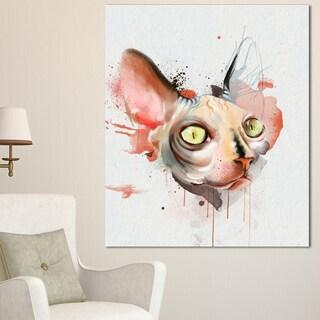 Designart 'Red Faced Cat Watercolor Sketch' Large Animal Canvas Artwork
