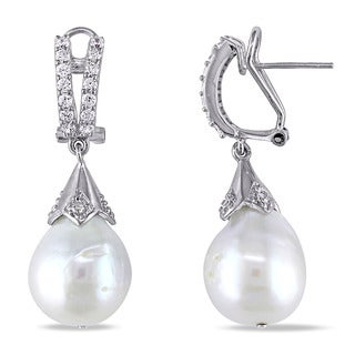 Miadora Sterling Silver Cultured Freshwater Biwa Pearl and Cubic Zirconia Drop Earrings (12-13mm)