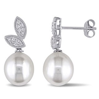 Miadora 10k White Gold Cultured Freshwater Pearl and 1/7ct TDW Diamond Double Leaf Earrings (G-H, I2-I3) (8-8.5mm)
