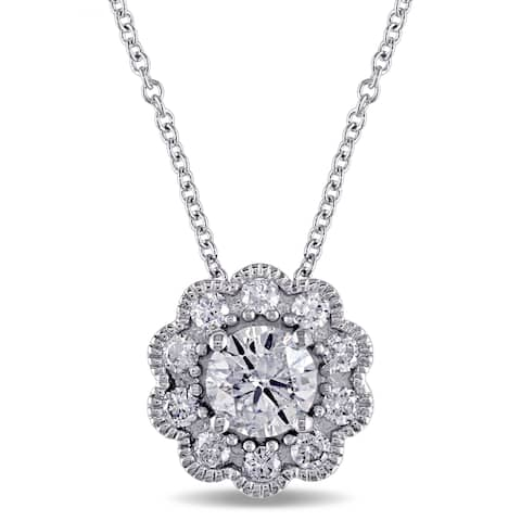Laura Ashley 10k White Gold 3/4ct TDW Diamond Flower Dangle Necklace
