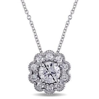 Laura Ashley 10k White Gold 3/4ct TDW Diamond Flower Dangle Necklace