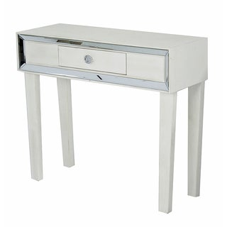 Avery Collection White Wood 1-Drawer Console Cabinet with Clear Mirror