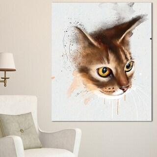 Designart 'Anxious Brown Cat Watercolor Sketch' Large Animal Canvas Artwork