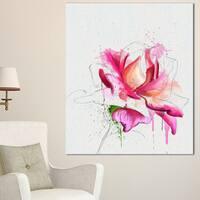 Designart 'Violet Watercolor Rose Sketch' Floral Canvas Artwork Print - Pink