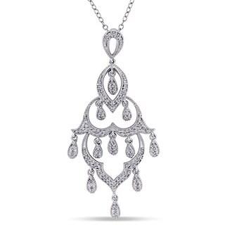Miadora 1/4ct TDW Diamond Chandelier Drop Necklace in Sterling Silver