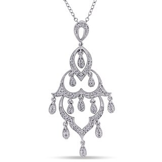 Miadora 1/4ct TDW Diamond Chandelier Drop Necklace in Sterling Silver - White