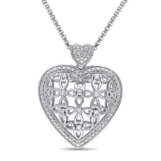 Miadora 1/10 TDW Diamond Heart Filigree Openwork Necklace in Sterling Silver (G-H, I2-I3)