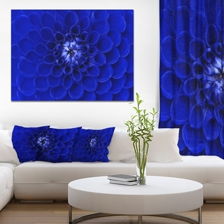 Designart 'Abstract Blue Flower Design' Extra Large Floral Canvas Art