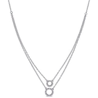 Miadora Shared Prong Set Diamond Double Circle Tiered Necklace in Sterling Silver (G-H, I2-I3)