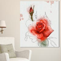 Designart 'Red Watercolor Rose Sketch' Floral Canvas Artwork Print - Red