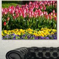 Designart 'Tulip Garden with Yellow Flowers' Modern Flower Canvas Art Print
