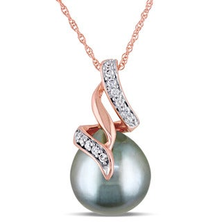 Miadora 10k Rose Gold Platinum Cultured Tahitian Pearl and 1/10ct TDW Diamond Ribbon Drop Necklace (G-H, I2-I3) (9.5-10mm)