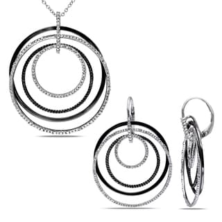 Miadora 1/2ct TDW Diamond 2-Tone Multi-Circle Earring and Necklace Set in Sterling Silver with Black Rhodium Plating (G-H,I2-I3)