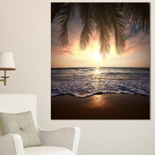 Designart 'Tropical Beach with Palm Leaves' Seashore Wall Art Print