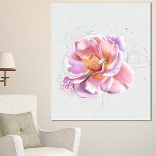 Designart 'Cute Watercolor Pink Rose Sketch' Flowers Canvas Wall Artwork