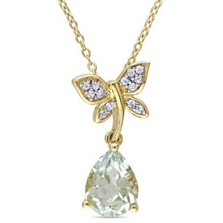 Laura Ashley Yellow Plated Sterling Silver Pear-Cut Green Amethyst and White Sapphire Butterfly Dangle Necklace
