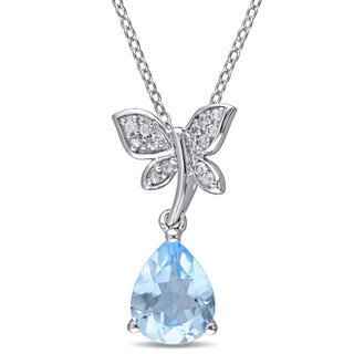 Laura Ashley Yellow Plated Sterling Silver Pear-Cut Sky-Blue Topaz and White Sapphire Butterfly Dangle Necklace