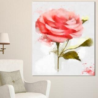 Designart 'Cute Pink Watercolor Rose Sketch' Flowers Canvas Wall Artwork