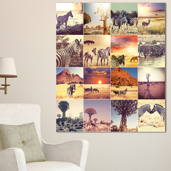Designart 'African Wildlife And Nature Collage' African