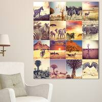 Designart 'African Wildlife and Nature Collage' African Landscape Print Wall Art - White