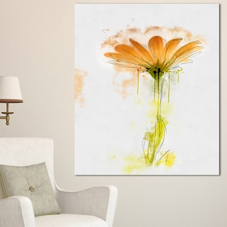 Designart 'Orange Gerbera Sketch Watercolor' Flowers Canvas Wall Artwork