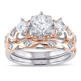 Laura Ashley 10k Rose Gold 1ct TDW Princess and Round-Cut Patterned Bridal Ring Set (G-H, I2-I3)