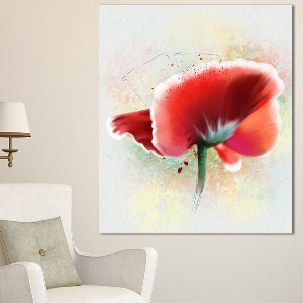 Shop Designart \'Beautiful Red Watercolor Poppy\' Flowers Canvas Wall ...