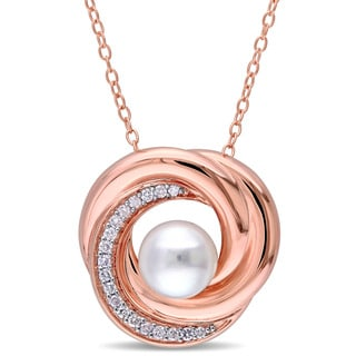 Miadora Rose Plated Sterling Silver Cultured Freshwater Pearl and 1/7ct TDW Diamond Swirl Necklace (G-H,I2-I3) (7- 7.5 mm )