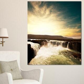 Designart 'Dramatic Iceland Waterfalls' Large Seashore Canvas Print