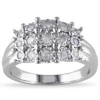 Miadora 1/2ct TDW Bezel-Set Diamond Clustered Dome Cocktail Ring in Sterling Silver