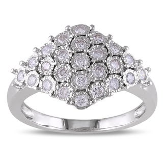 Miadora 1/2ct TDW Bezel-Set Diamond Cluster Cocktail Ring in Sterling Silver