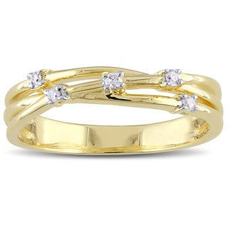 Miadora 4-prong Set Diamond Stationed Crossover Anniversary Band in Yellow Plated Sterling Silver
