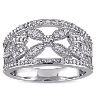 Miadora 1/7ct TDW Diamond Open Floral Filigree Anniversary Ring in Sterling Silver