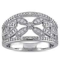 Miadora 1/7ct TDW Diamond Open Floral Filigree Anniversary Ring in Sterling Silver - White