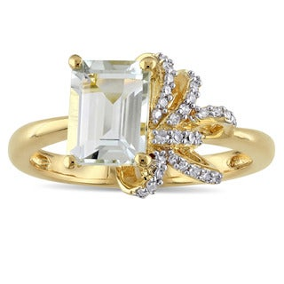 Laura Ashley Yellow Plated Sterling Silver Green Amethyst and 1/10ct TDW Diamond Ribbon Ring (G-H, I2-I3)