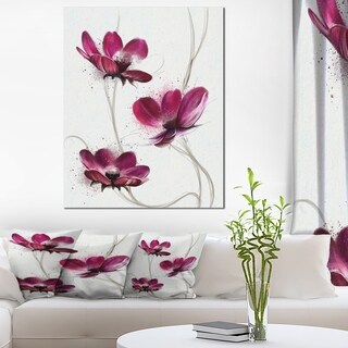 Designart 'Lovely Red Watercolor Poppies' Flowers Canvas Wall Artwork