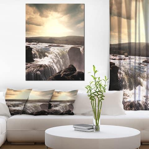 Designart 'Dramatic Waterfalls in Iceland ' Landscape Art Print Canvas - White